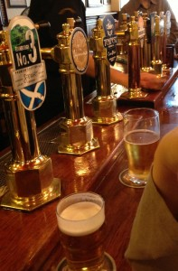 Cask at the Bow Bar - these towers look like taps, but they're powered by compressed air, not CO2.