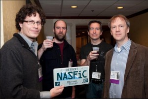 Me, Scott, Bradley P. Beaulieu and Howard Andrew Jones stumping for NasFic at ConFusion; photo by Al Bogdan